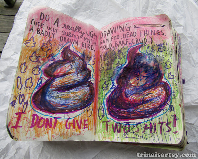 Wreck this Journal -  A really ugly drawing of two balls of shit