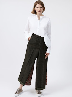 2017 Cruise Collection Ports 1961 white shirt with asymmetrical hem and dark green wool trousers with pattern detail