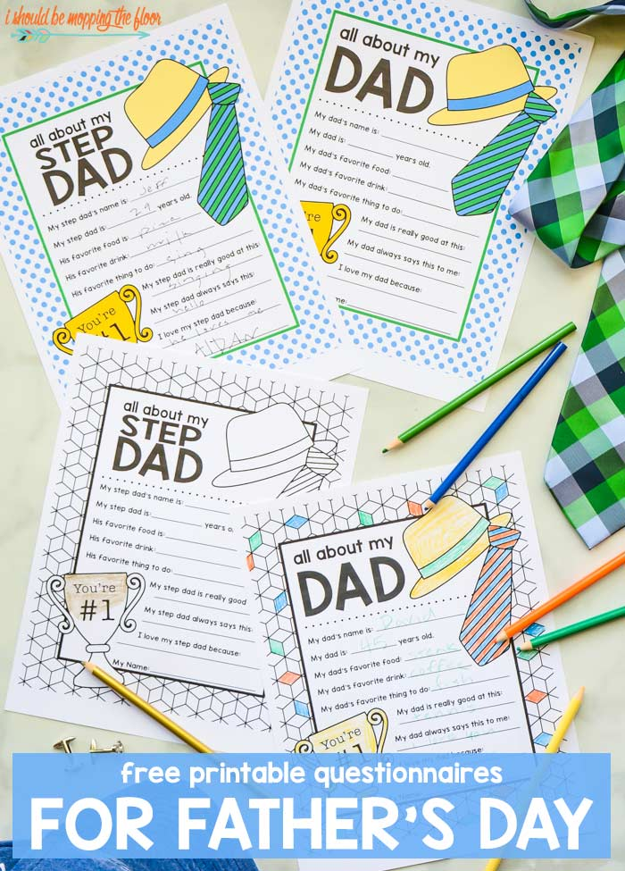 graphic about All About My Dad Free Printable referred to as Free of charge Fathers Working day Printable Questionnaire Downloads i