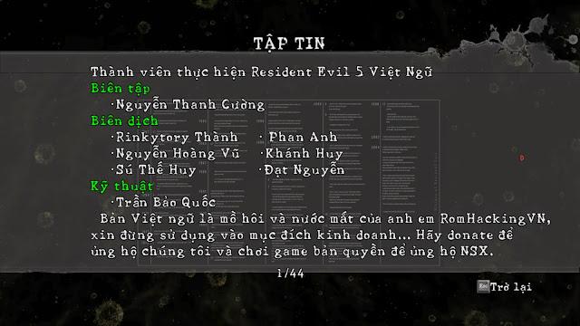 Games Resident Evil 5 Việt Ngữ
