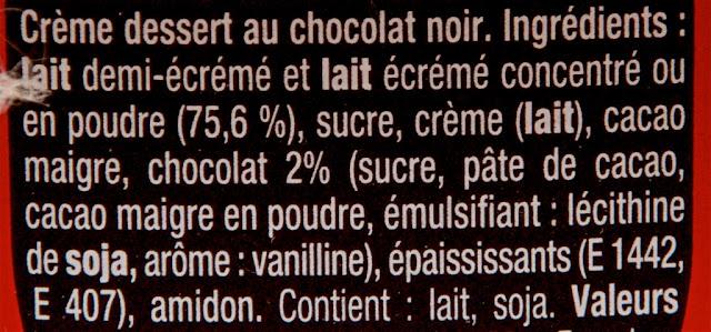 Crèmes dessert - Danette - Noir Extra - Chocolat - Chocolat noir - Frais - Danone - Produits laitiers - ingrédients danette noir extra