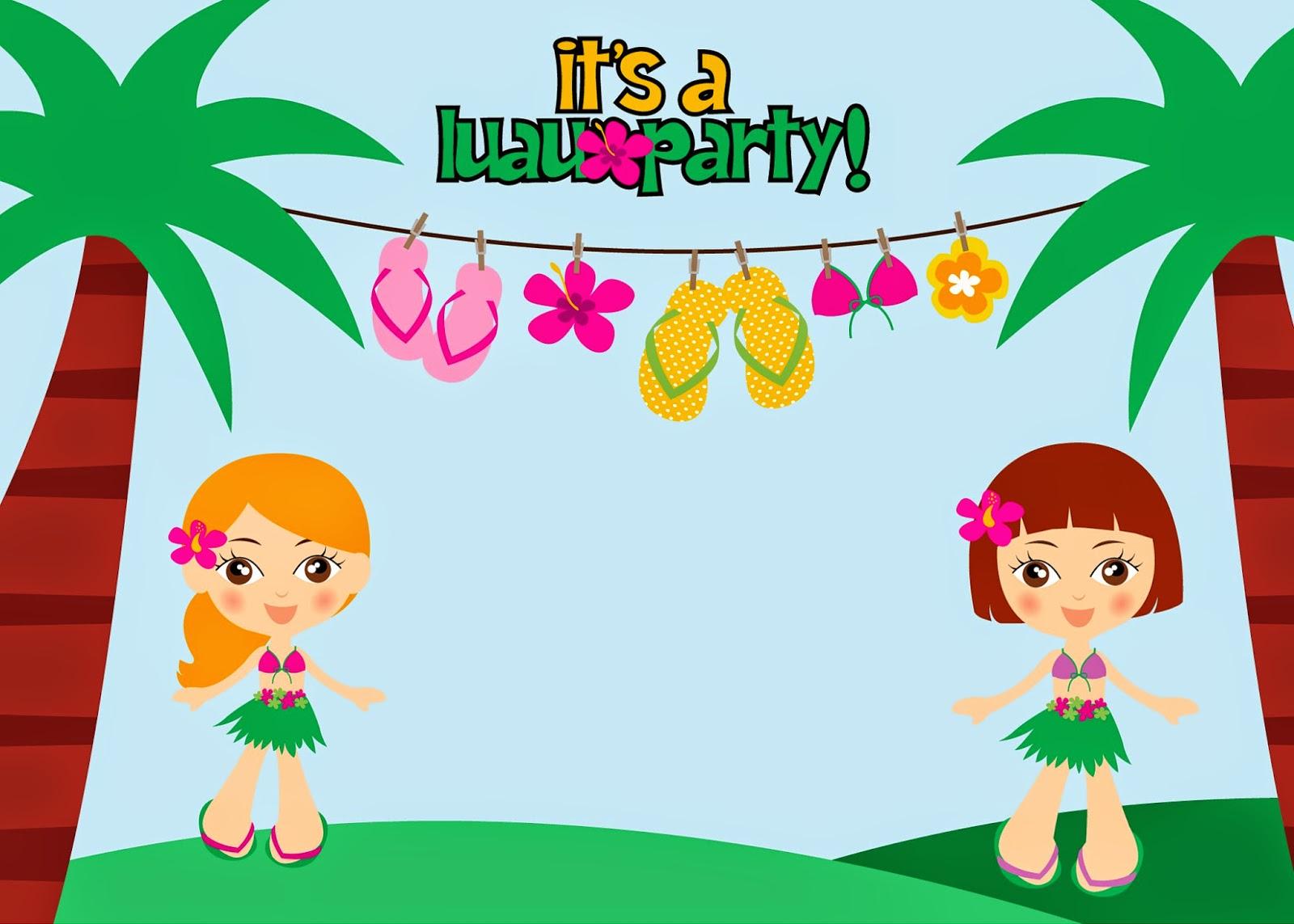 Invitaciones Para Fiesta Hawaiana De Niñas Para Imprimir