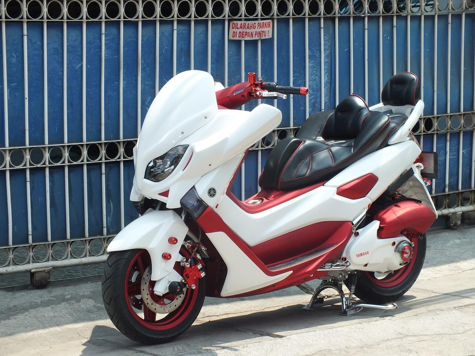 ngecat motor yamaha nmax custom paint putih mutiara