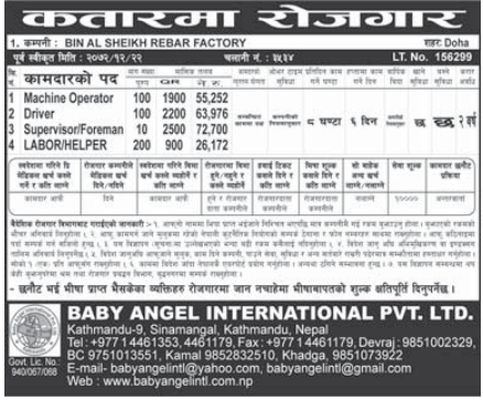 Jobs For Nepali In Qatar,  Salary -Rs.72,700/