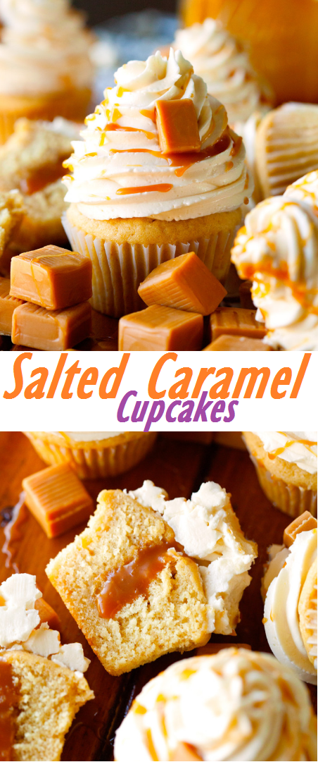 The Best Vanilla Salted Caramel Cupcakes - Soft, moist and scrumptious Vanilla Cupcakes filled with Salted Caramel, topped with Swiss Meringue Buttercream and finished with even more Caramel. The best cupcakes you can make at home! #cupcakes #saltedcaramel #caramel #vanilla #dessert #cupcakesrecipe #buttercream #frosting