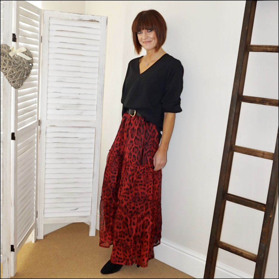 my midlife fashion, ridley london carmen leopard print maxi skirt, tibi blouse, iro suede ankle boots, and other stories wide waist belt
