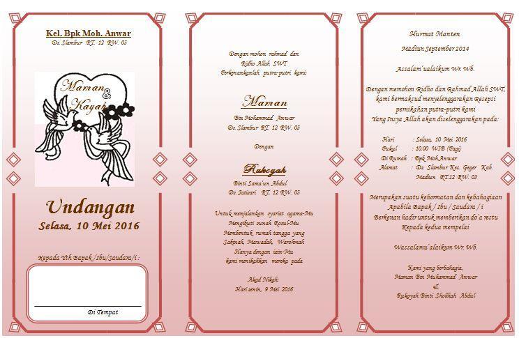 Contoh Undangan Pernikan Dan Kata-Kata Undangan - Assalam ...