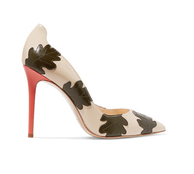 Camilla Elphick Falling Leaves Appliqued Glossed Leather Pumps
