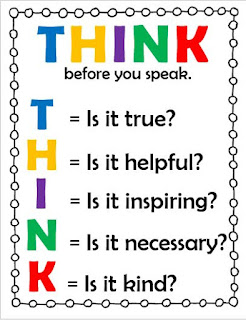 Colorful THINK before you speak reproducible anchor chart
