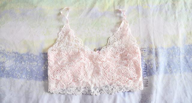 Details on the pastel pink lace bralette crop top from Dresslink.
