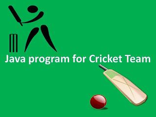Java program for Cricket Team