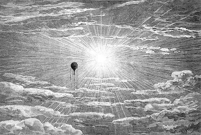 Camille Flammarion, scientific illustration of ballooning, sun