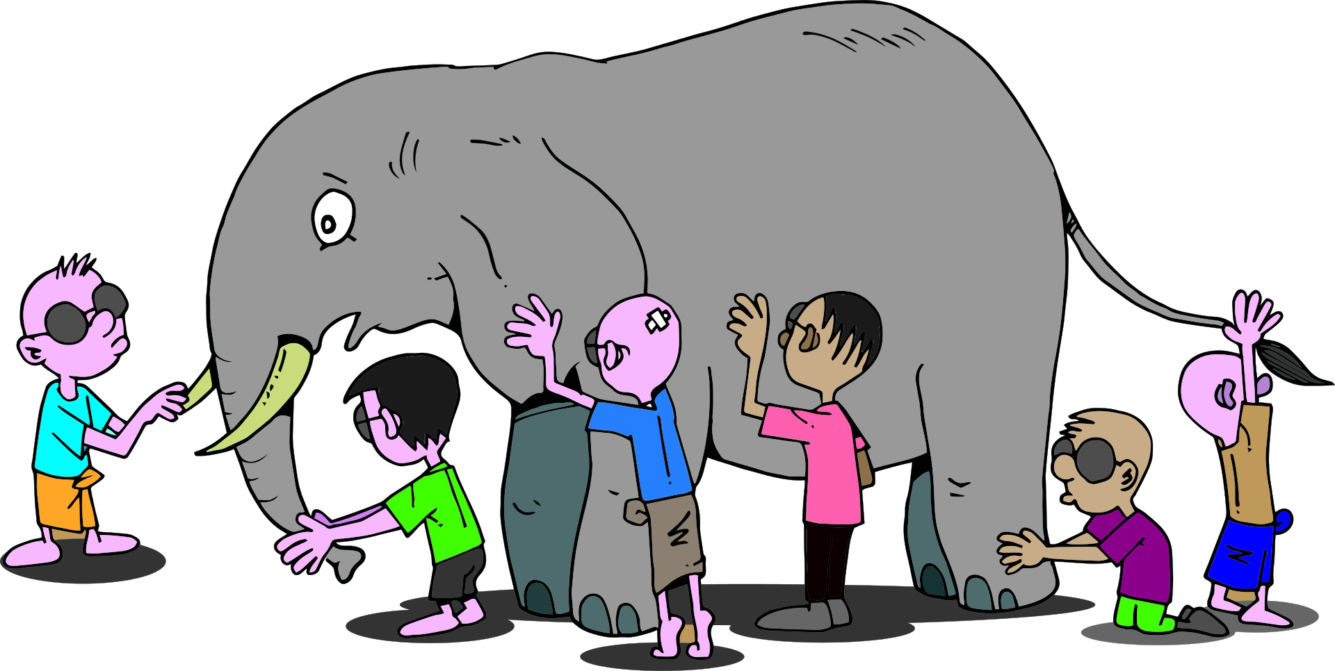 6 blind people image with elephant