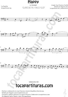 Happy Partitura en Clave de Fa para Chelo, Fagot, Trombón, Bombardino... Sheet Music for bass clef by La Pandilla