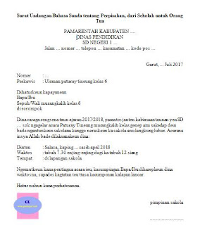 Surat Undangan tentang Perpisahan Sekolah (Paturay Tineung) menggunakan Bahasa Sunda yang diberikan oleh sekolah kepada orang tua atau wali murid