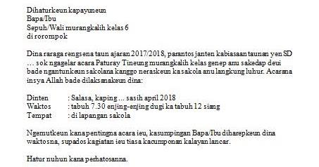 surat undangan bahasa sunda tentang perpisahan dari