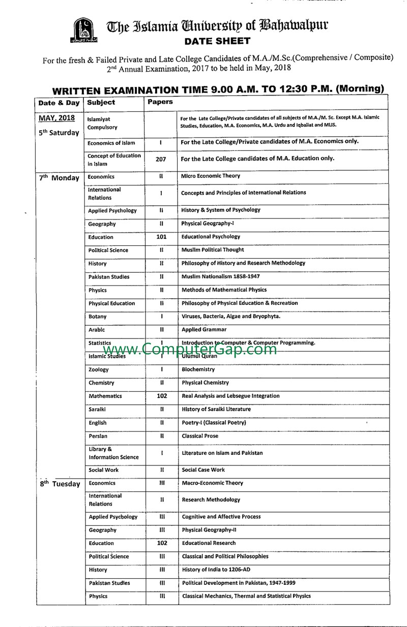Date Sheet M.A / M.Sc 2nd Annual 2017 Held in May 2018 IUB Islamia University Bahawalpur