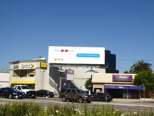 Postmates text emoji sushi lunch billboard