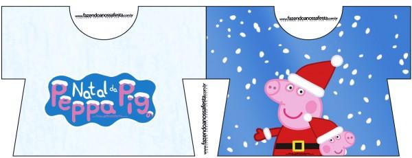 Tarjeta con forma de camisa de Peppa Pig en Navidad.