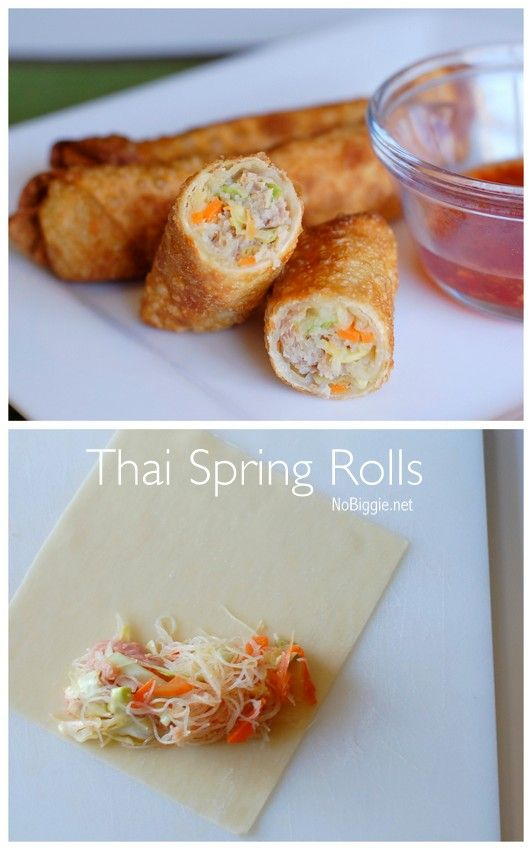 Thai Spring Rolls made with ground pork, matchstick cut carrots, sliced cabbage and thinly sliced onion all wrapped up and fried until golden.