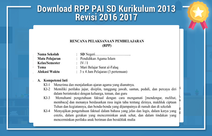 Download RPP PAI SD Kurikulum 2013 Revisi 2016 2017