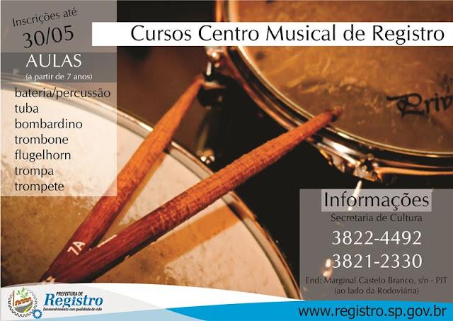 Secretaria de Cultura recebe inscrições para aulas de instrumentos