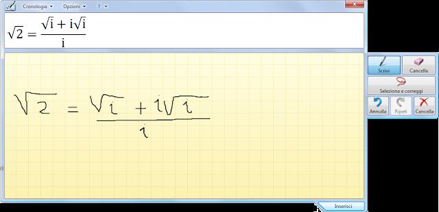 Pannello input penna espressioni matematiche
