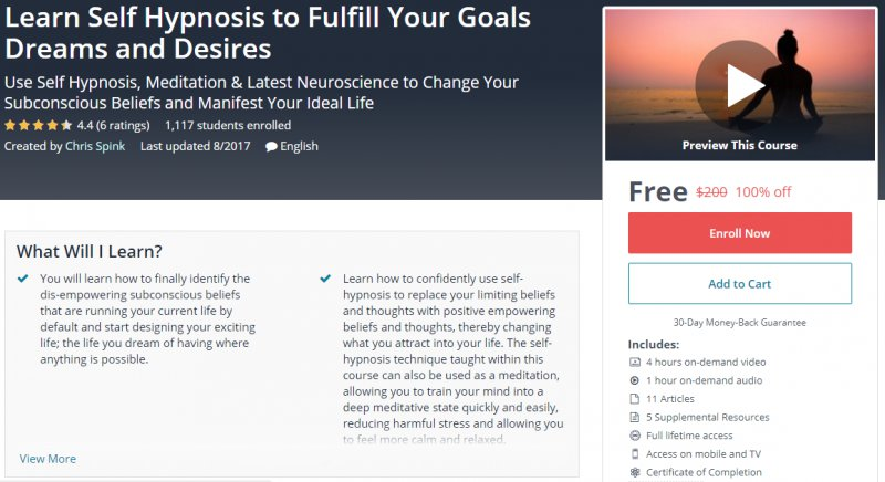 100% Off] Learn Self Hypnosis to Fulfill Your Goals Dreams and