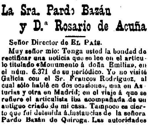 Fragmento de la carta enviada a El País (16-1-1905)