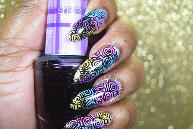 Lead Lighting Technique Using O.P.I Sheer Tints & Bundle Monster BM-XL111 Stamping Plate