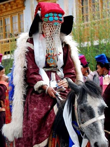 Bride from Ladakh, India, wearing traditional wedding costume of the region
