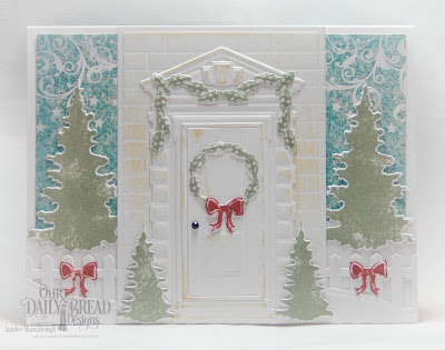 Our Daily Bread Designs Custom Dies: Welcoming Door, Christmas Door Greenery, Trees & Deer, Curvy Slopes, Fence, Rectangles, Paper Collection: Christmas 2014