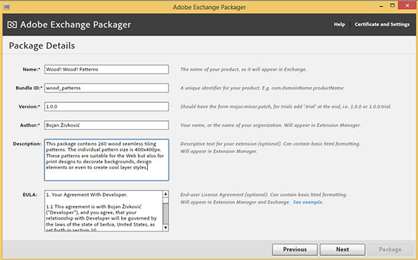 Enter package details in Adobe Exchange Packager