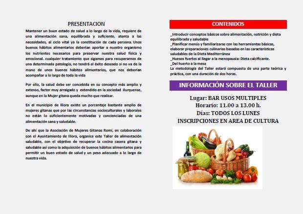 Objetivos taller alimentacion saludable