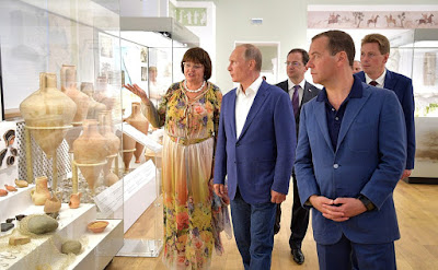 Vladimir Putin with Dmitry Medvedev visiting the the Khersones Tavrichesky State Historical Archaeological Museum.