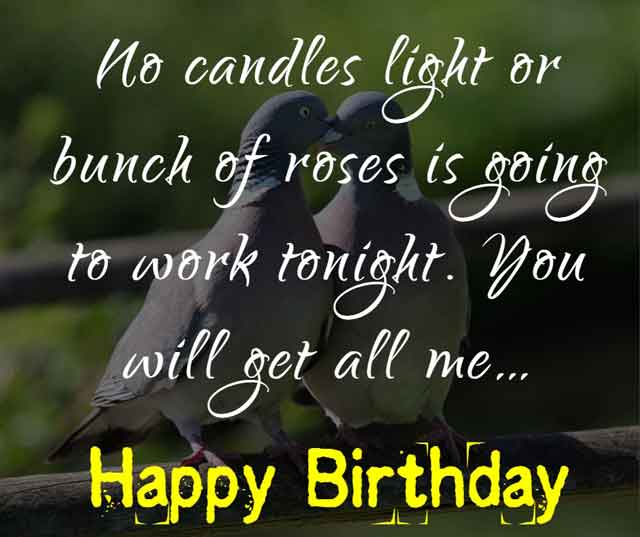 No candles light or bunch of roses is going to work tonight. You will get all me… happy birthday!