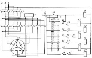 Схема управления трехскоростным асинхронным электродвигателем шпиля