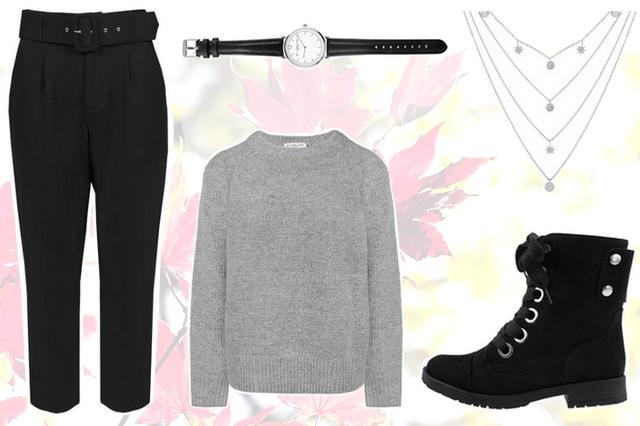 Herfst outfit inspiratie met zwarte pantalon en veterlaarzen My Jewellery grijze gebreide trui mode blogger