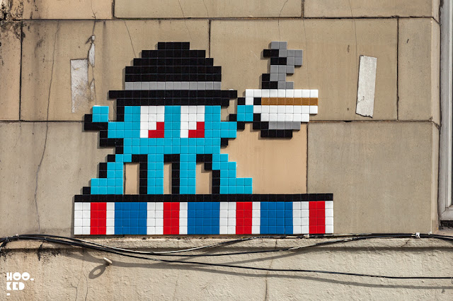 French Street Artist Invader's London Tea Drinker Mosaic removed