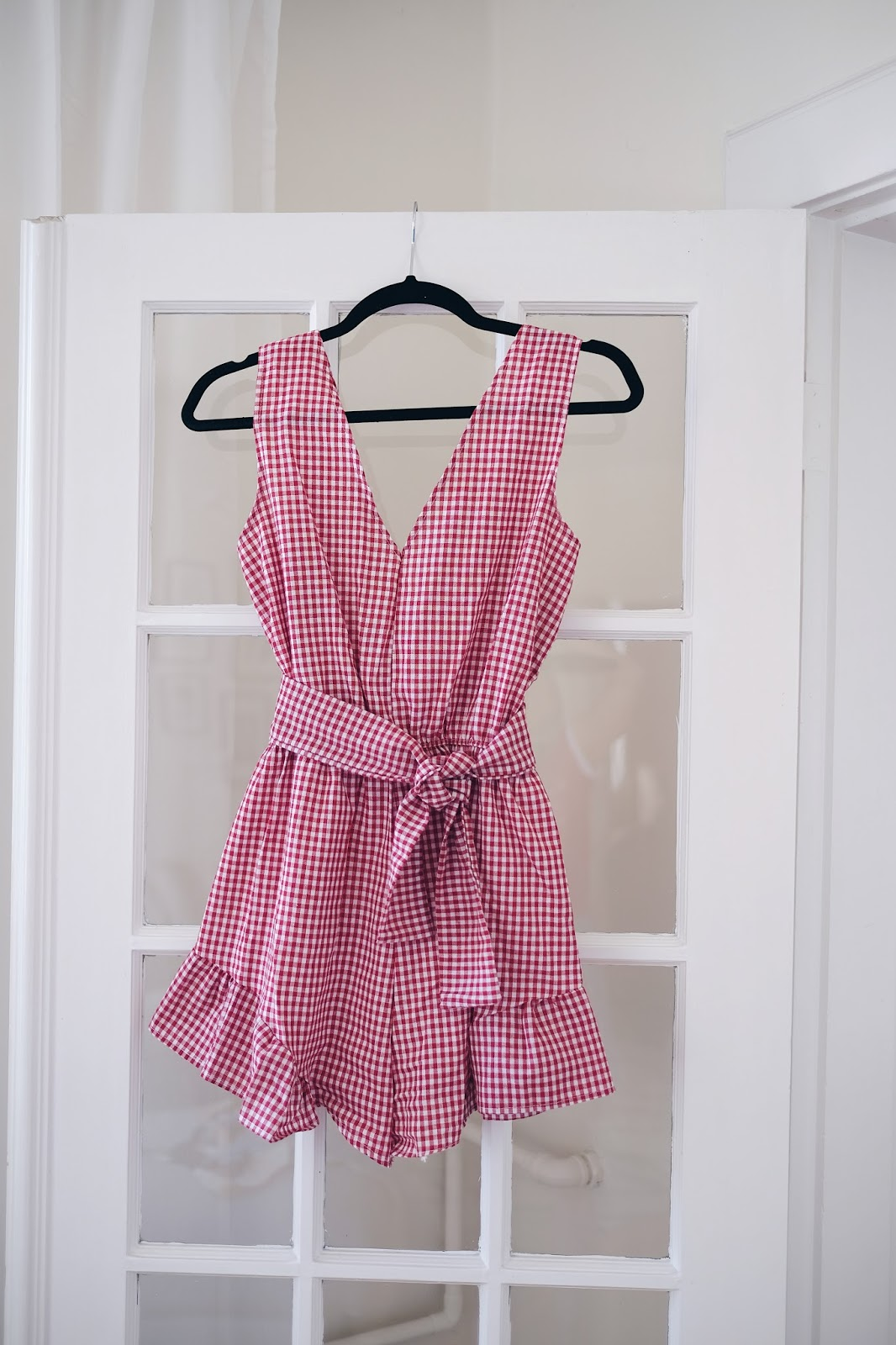 red gingham romper