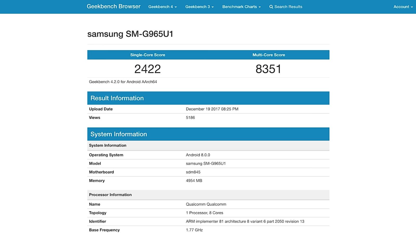 Samsung galaxy s9 geek bench score