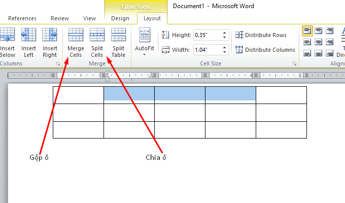 Dùng tab design để chia ô, gộp ô bảng trong word