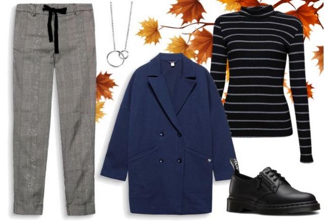 herfst outfit inspiratie ruitjes broek plaid pants geruite broek blauwe mantel streepjes turtleneck dr martens esprit zinzi blogger