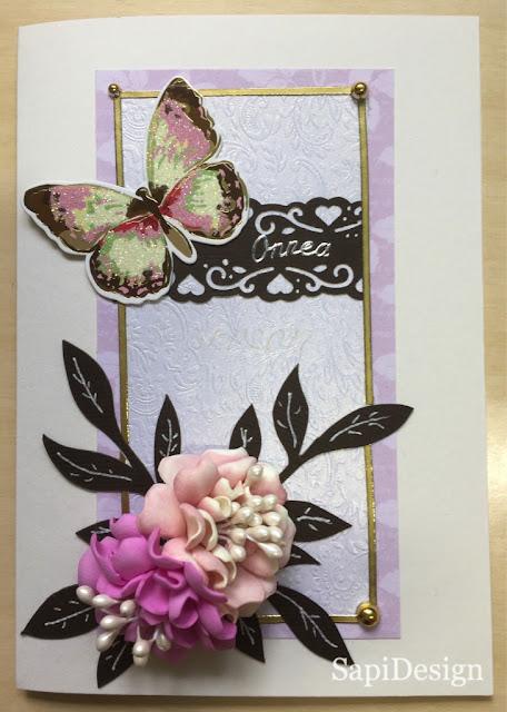nimipäivä kortti perhonen foamiran SapiDesign