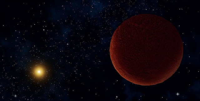 Artist concept of the planetary body 2014 UZ224, more informally known as DeeDee. Credit: Alexandra Angelich (NRAO/AUI/NSF)