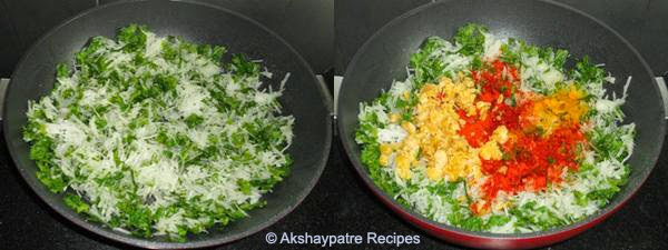 heat oil and add radishchilli powder, jaggery, turmeric powder, salt