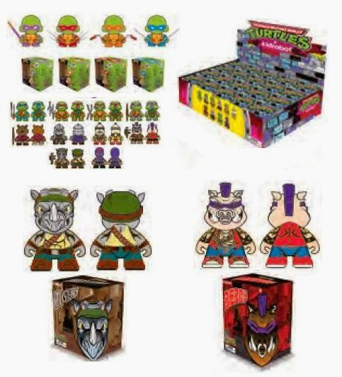 First Look Teenage Mutant Ninja Turtles Vinyl Figures by Kidrobot - DIY Mini Munnys, Mini Figure Blind Box Series & 7 Inch Bepop and Rocksteady Vinyl Figures