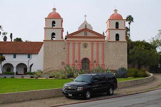 Limo service visiting Mission Santa Barbara