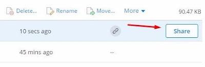 cara share file dropbox