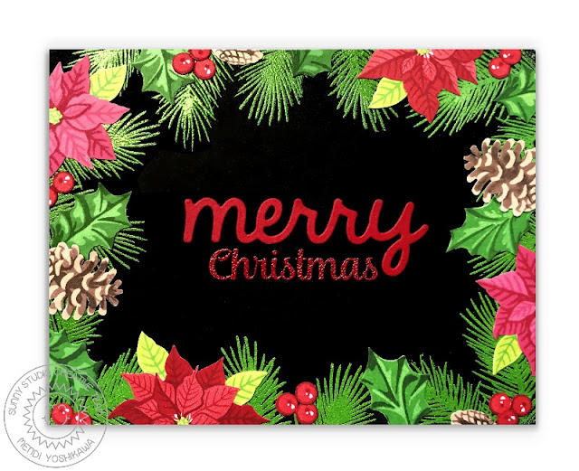 Sunny Studio Stamps: Christmas Trimmings & Petite Poinsettias Holiday Card by Mendi Yoshikawa
